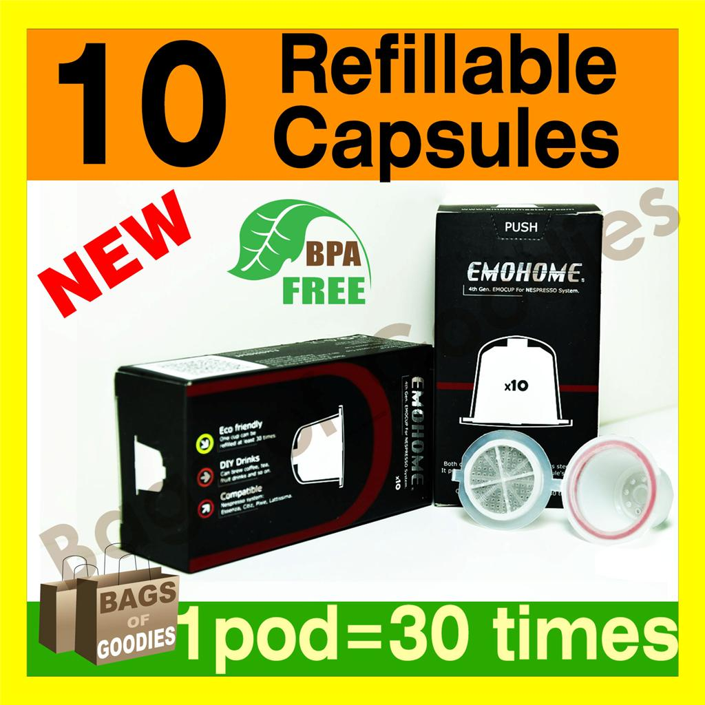 new improved 10 x refillable reusable coffee capsules pod for nespresso machine. Black Bedroom Furniture Sets. Home Design Ideas