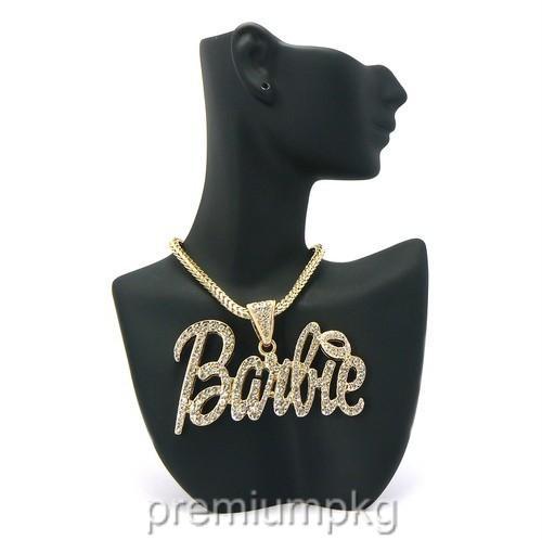 Nicki Minaj Barbie Necklace Pendant w Franco Style Chain Its Barbie