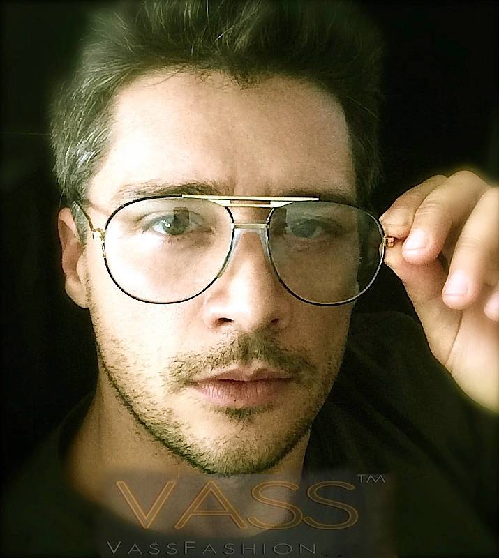 80 u0026 39 s vintage retro aviator metal brown gold frame clear lenses mens eyeglasses