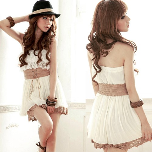 Women-Strapless-Two-Tiered-Lace-Pleated-Drawstring-Belt-Chiffon-Mini-Dress