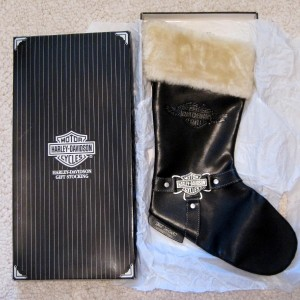 Harley Davidson Black Leather Christmas Stocking 14 Long