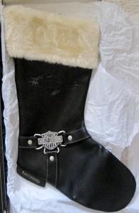 Harley Davidson Black Leather Christmas Stocking 14 Long
