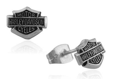 Harley Davidson Bar & Shield sterling post earrings MOD0085 NR .99cts