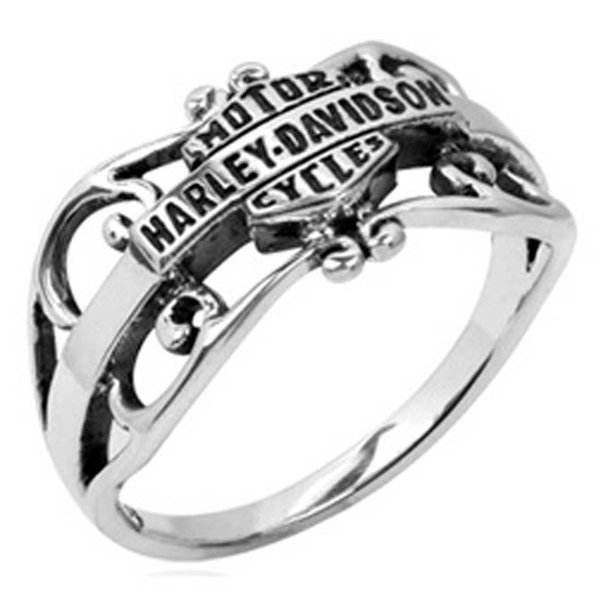 Harley davidson bar shield stacking sterling ring band for Harley davidson jewelry ebay