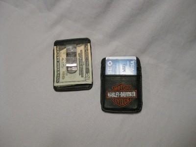 Harley Davidson Black Leather Money Clip Credit Cards Men Women