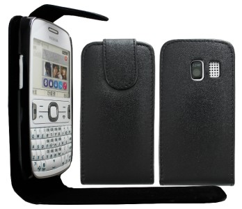 BLACK LEATHER FLiP CASE COVER POUCH FOR NOKiA ASHA 302