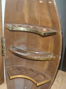 vintage slat wood barrel bar liquor cabinet wall mount bar ebay. Black Bedroom Furniture Sets. Home Design Ideas