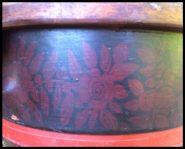 Antique Painted Decorated Bentwood Band Box