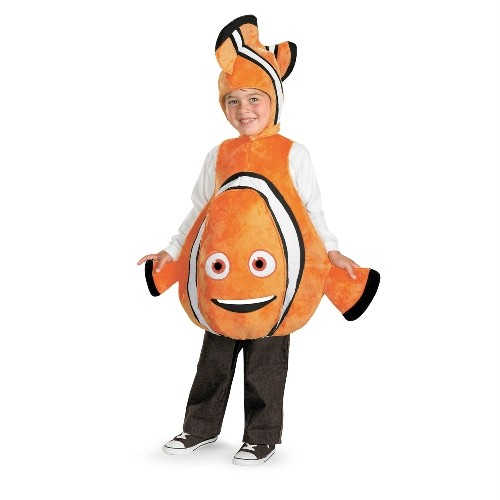 Finding nemo deluxe orange clown fish marlin child costume for Clown fish costume