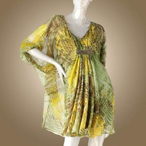 Jennifer Lopez Size on Jennifer Lopez   Size Medium  Leaf Chiffon Caftan Dress   Nwt