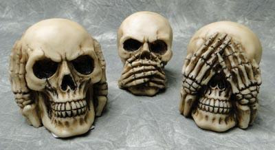 Set Of 3 No Evil Human Skulls Hear Speak See No Evil Ebay