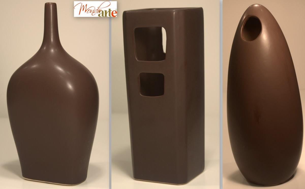 Modern vases brown ceramic home decor item ebay for Modern home decor vases