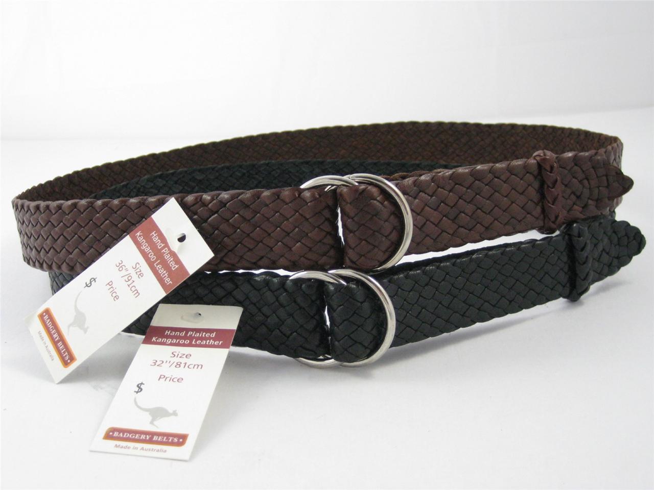 badgery new queenslander plaited kangaroo leather