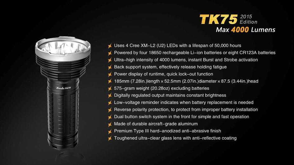 Fenix TK75 2015 CREE LED 4000 lumen flashlight/searchlight ...