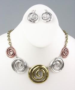 CHUNKY Antique Tri Tone (silver, gold, copper) Metal Swirl Rings Drape