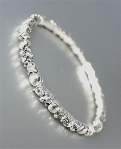 Designer Inspired Thin 4mm Silver Dots CZ Crystals Stretch Stackable Bracelet