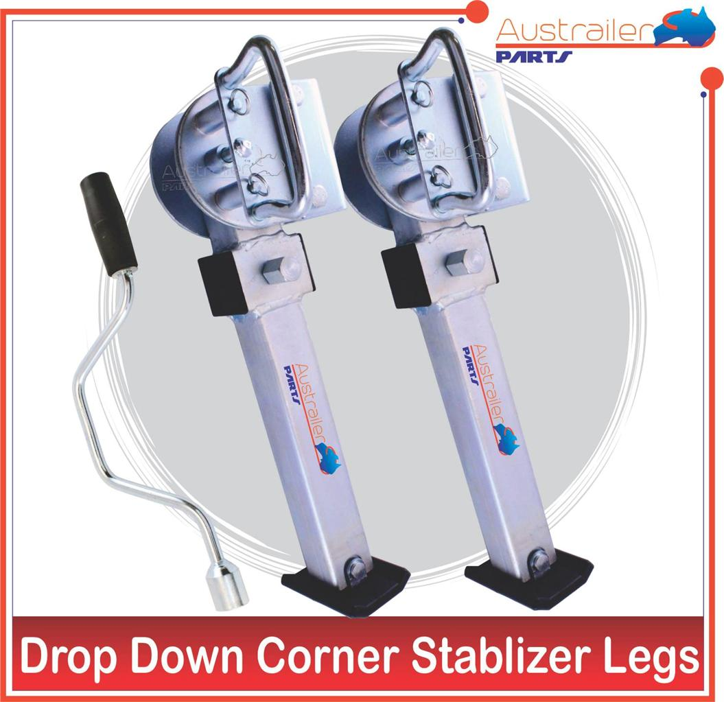 X2-CORNER-LEGS-DROP-DOWN-CORNER-STEADIES-CARAVAN-CAMPER-TRAILER-PART