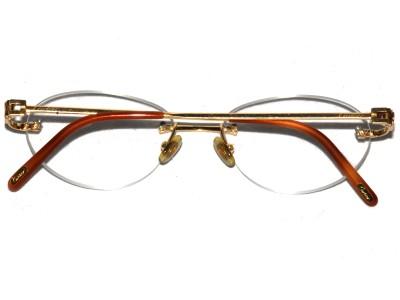 18k Solid Gold Eyeglass Frames : RARE Cartier 18k yellow solid gold rimless frames OJ/YG 53 ...