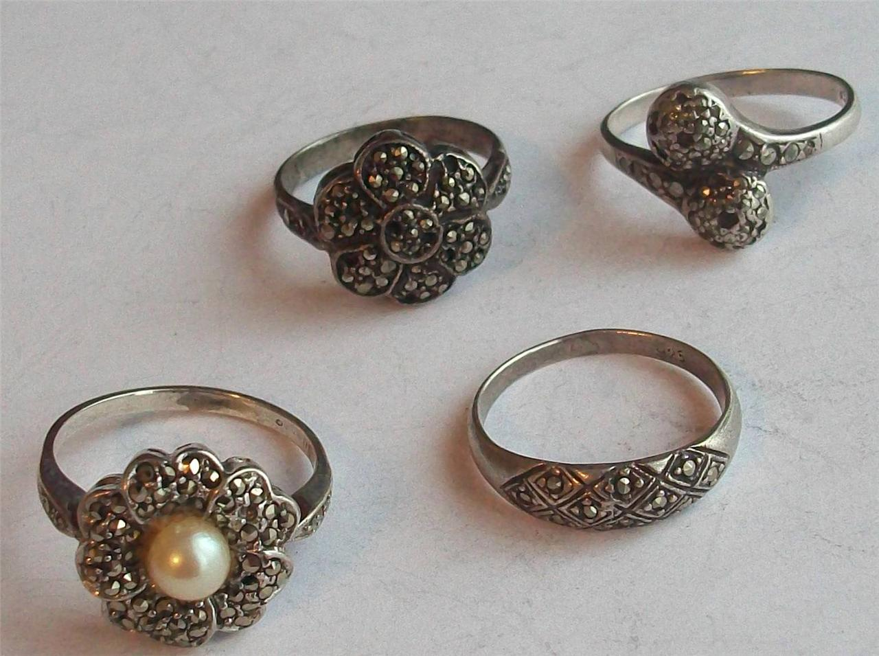 antique deco sterling silver and marcasite rings ebay