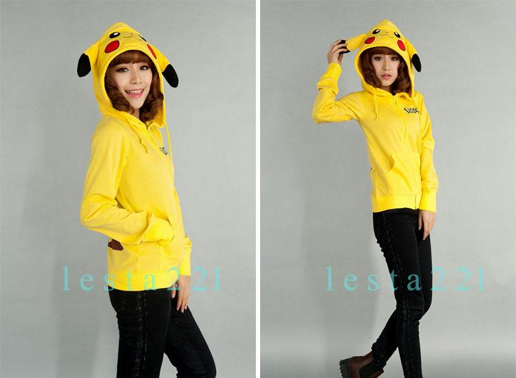 Pokemon Pikachu Hoodie Zip Hoodies Cosplay Party Dress Fanny Coat Cotton&Lycra