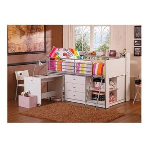 New Storage Loft Bed With Desk Kids Teen Bedroom Cabinets