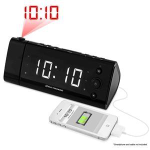 new electrohome digital am fm alarm clock radio usb charging white led disp. Black Bedroom Furniture Sets. Home Design Ideas