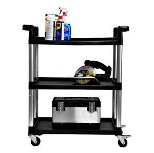 new trinity 3 tier utility cart wheels rolling service kitchen garage storage ebay. Black Bedroom Furniture Sets. Home Design Ideas