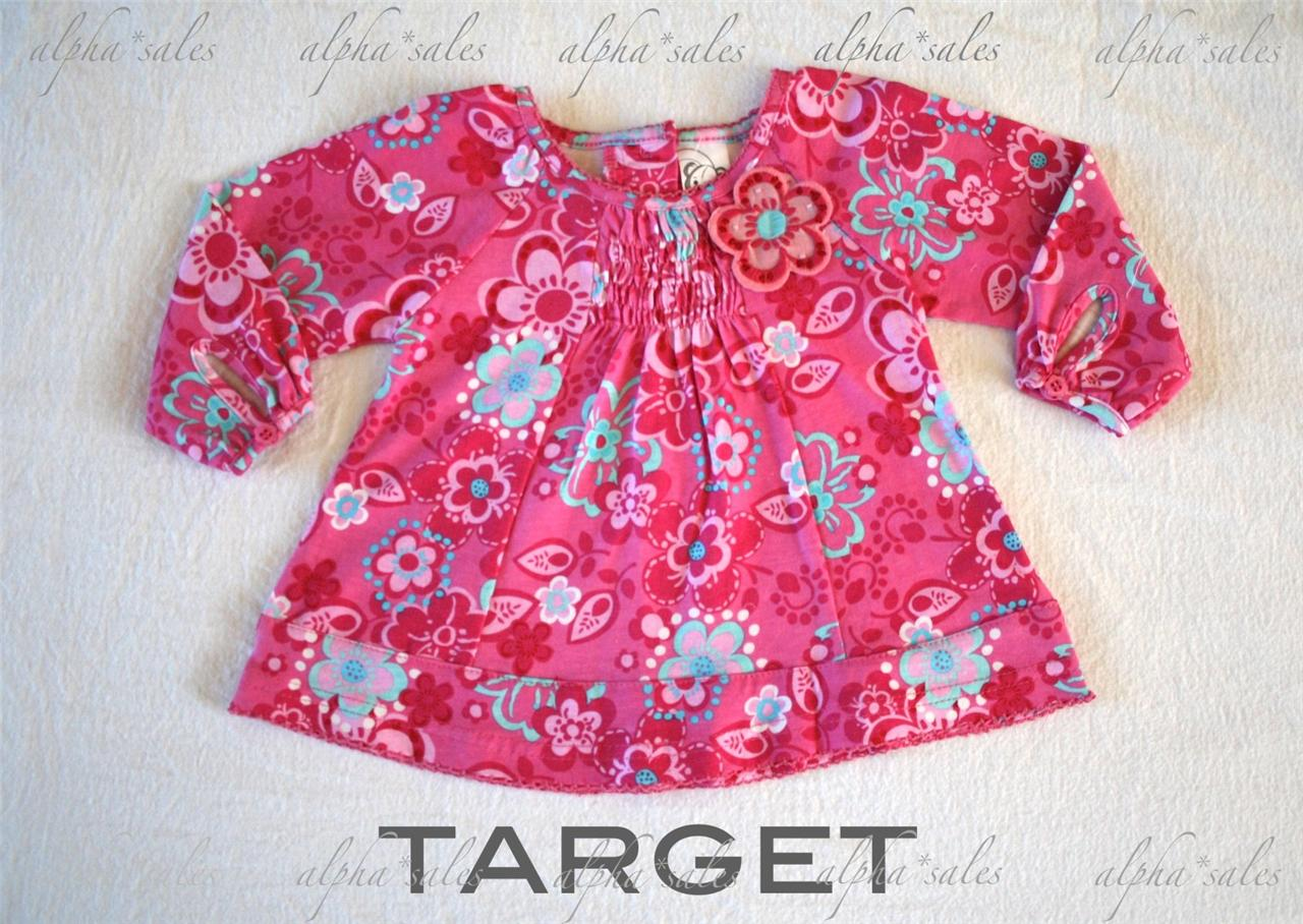 target rrp 23 baby girls long sleeve baby doll top nwot 0 clothes pink aqua new ebay. Black Bedroom Furniture Sets. Home Design Ideas