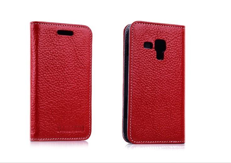 Slim Genuine Leather Sucker Flip Cover Case For Samsung Galaxy Trend Duos S7562