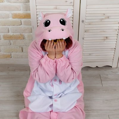 Adult KIGURUMI Pajamas Unisex Cosplay Pink Hippo Animal Party Costume
