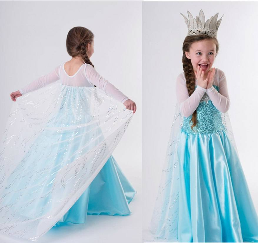disney frozen princess anna elsa girls cosplay costume party formal dress 2 8t. Black Bedroom Furniture Sets. Home Design Ideas