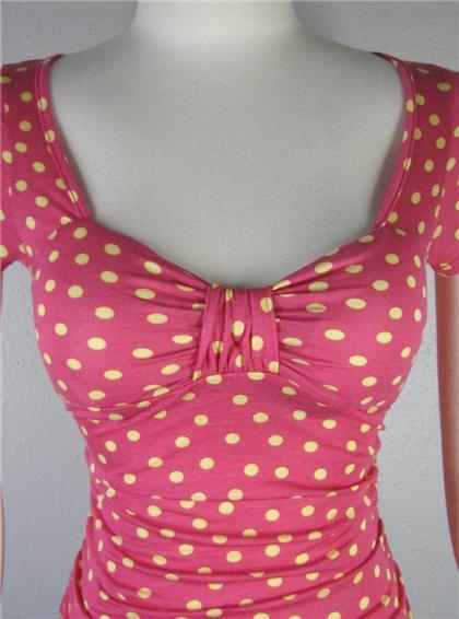Pink Yellow Polka Dot Ruched Sweetheart Top Shirt Rockabilly Pin Up