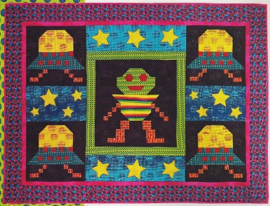 Space invaders quilt pattern from magazine easy fusible for Space quilt pattern