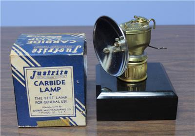 Vintage Justrite Carbide Miners Brass Lamp Nos In Box