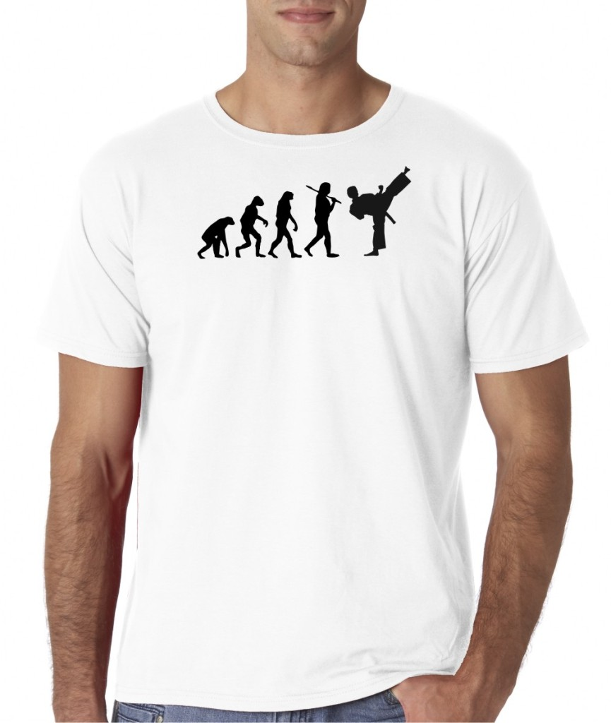 Mens evolution of man tae kwon do gym martial arts t shirt for Gym shirt t shirt