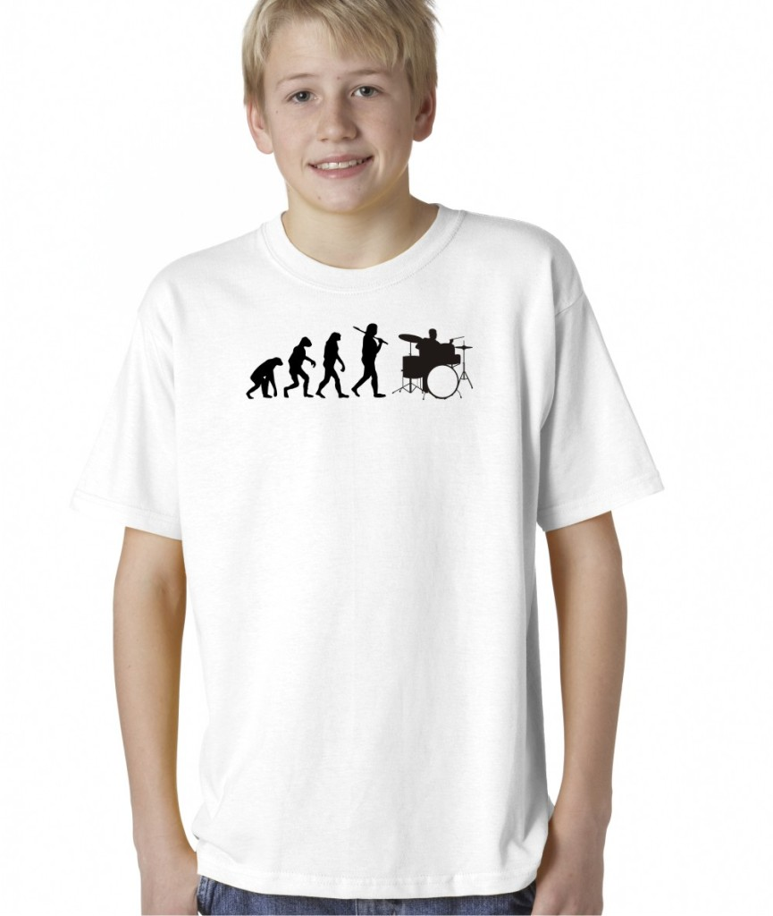 kids boys childrens evolution of man drums music rock t