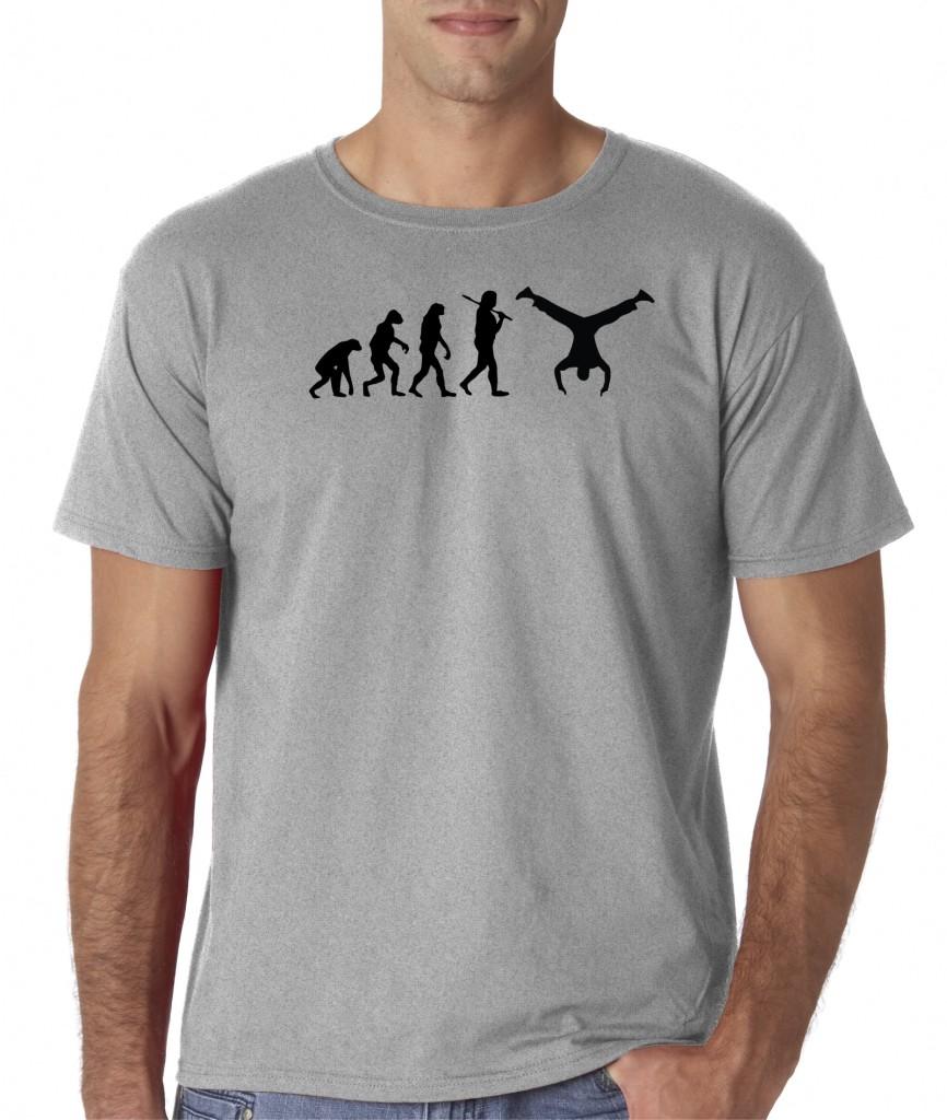 mens evolution of man parkour handstand free running t shirt tee freerunning ebay. Black Bedroom Furniture Sets. Home Design Ideas