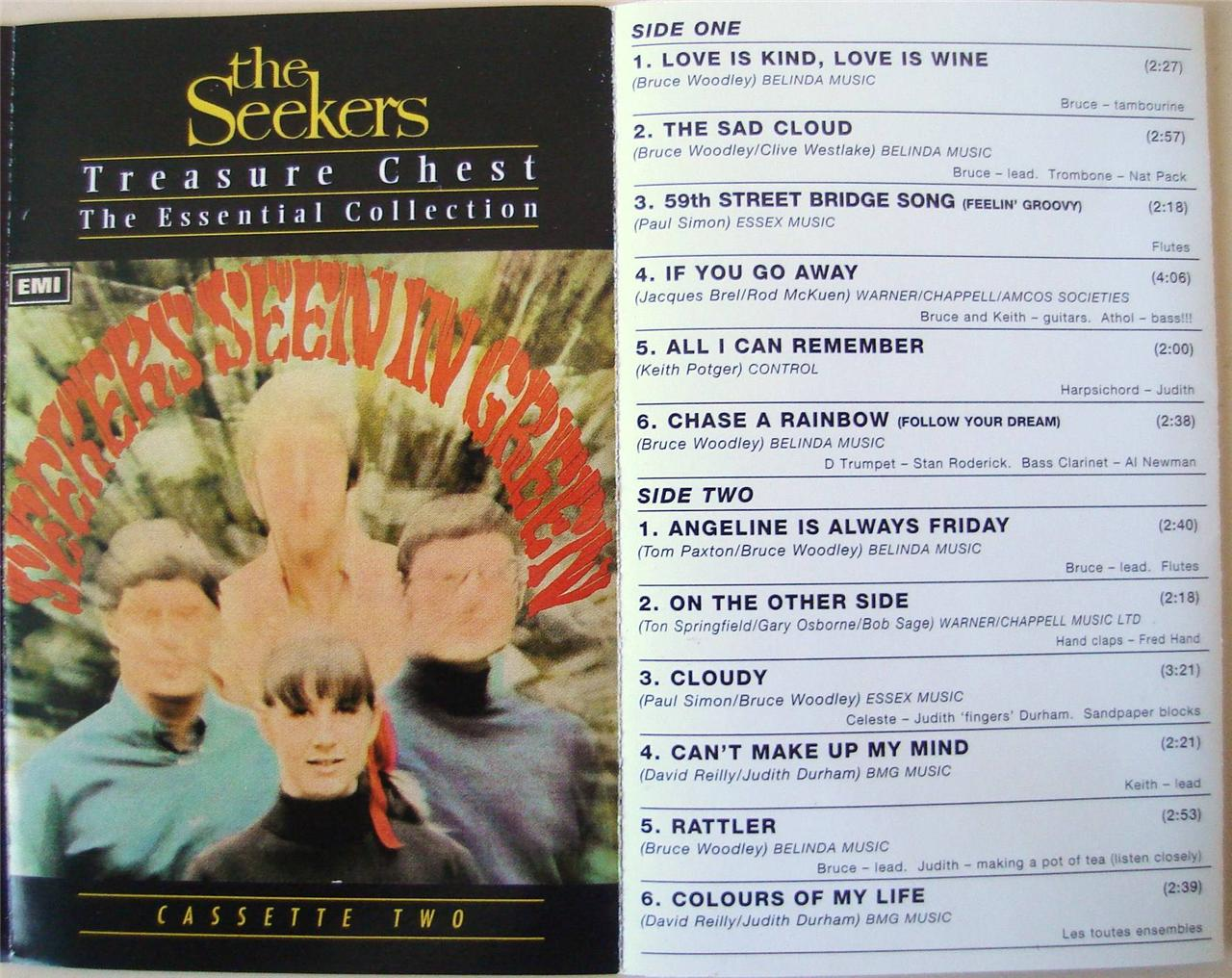 THE-SEEKERS-TREASURE-CHEST-CASSETTE-2-Rare-Cassette-Tape-Pop-Folk