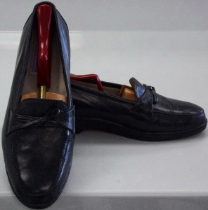square by haband black leather band loafer shoes