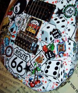 Custom rockabilly vegas tattoo flash encore strat electric art guitar