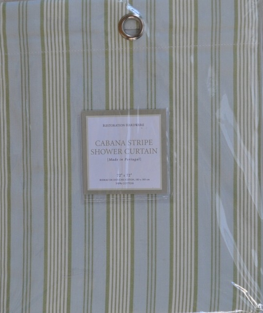 Restoration Hardware Cabana Shower Curtain Silver Sage new