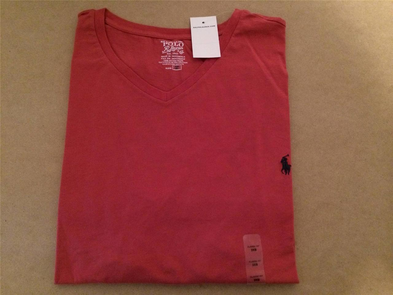 New polo ralph lauren classic big and tall v neck t shirt for Big and tall polo t shirts