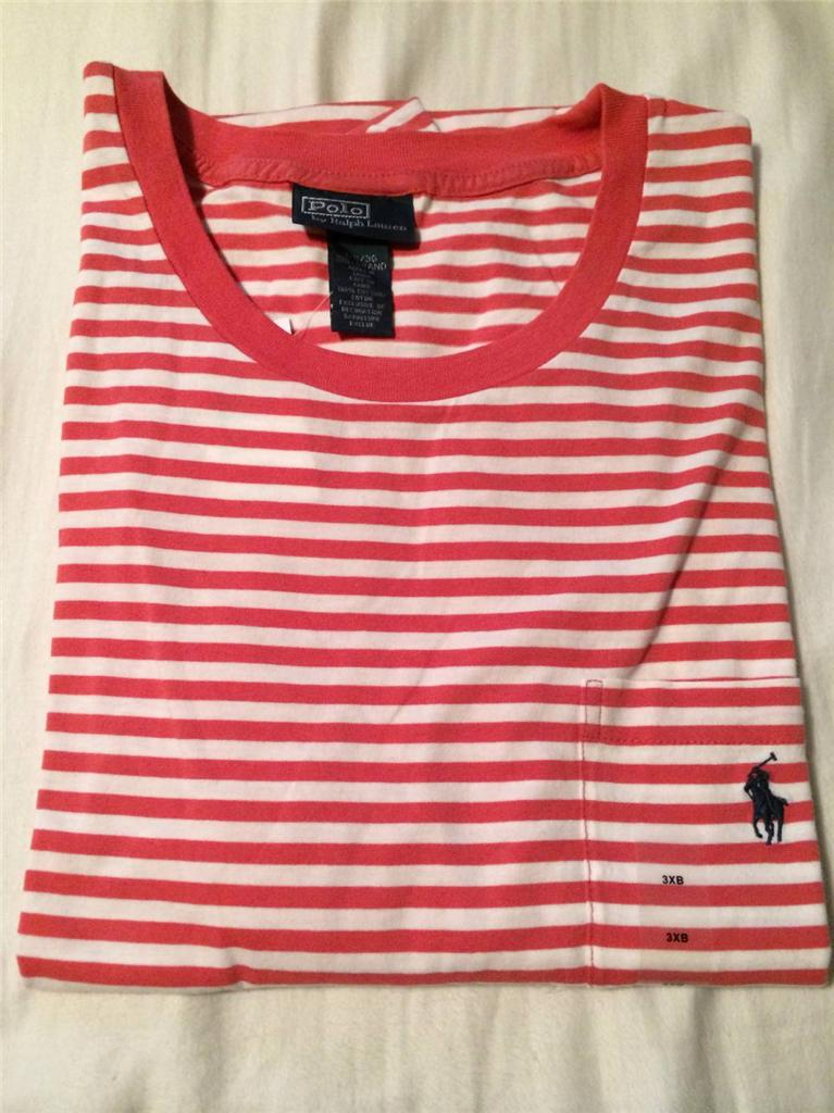 New Polo Ralph Lauren Big And Tall Striped Pocket T Shirt