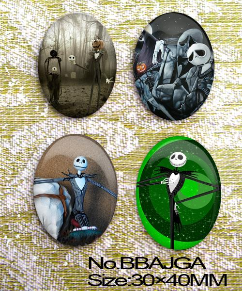 Free shipping 4pcs Huge The ghost world Oval Glass Cabochon 40x30mm  10 Options