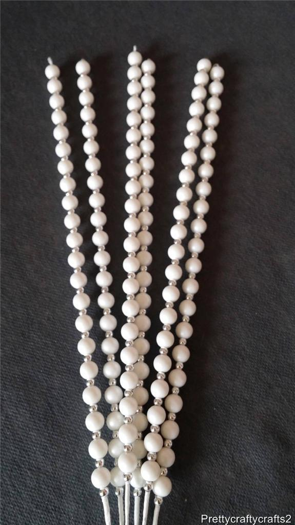 6 Pearl Bead Pick On Wire Bendable Stem Crafts Weddings Bouquet