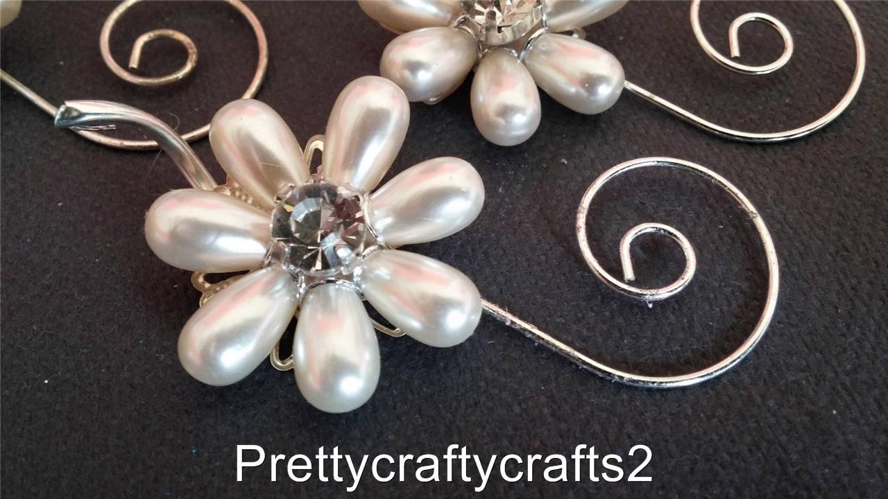 Pearl Diamante Flower Silver Swirl x 6 Decoration Craft Bouquet Wedding Cakes