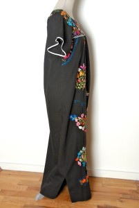 Vtg 70s MEXICAN HIPPIE Oaxacan Hand Embroidered Ethnic Tunic MAXI Tent