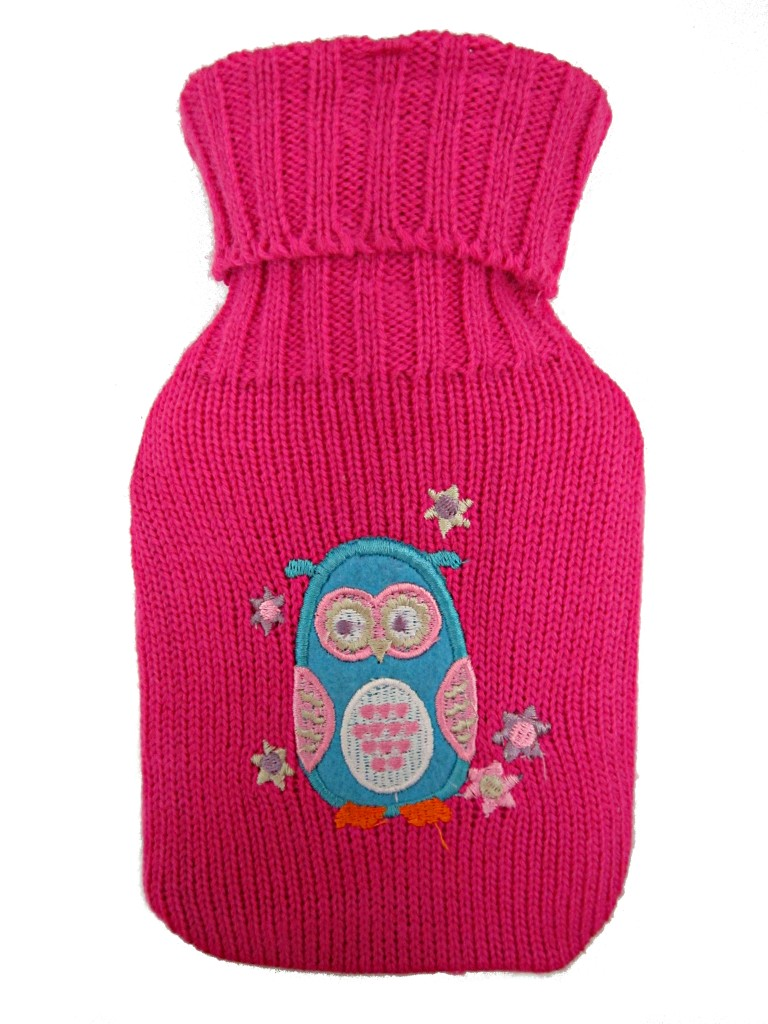 Owl Hot Water Bottle Cover Knitting Pattern : Small HOT WATER BOTTLE with OWL and DOG Knitted Cover Colours FUCHSIA, BLUE