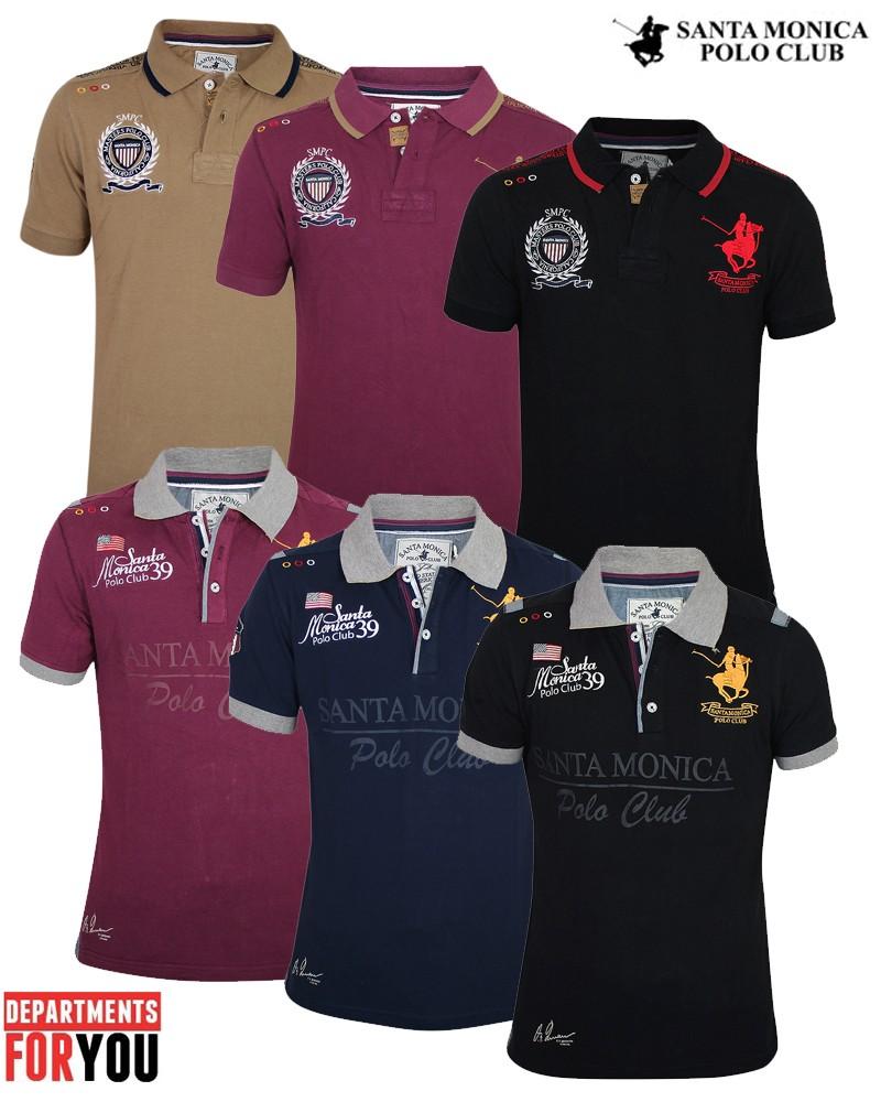 9f4f7814 Mens Horse Polo Shirt Santa Monica Polo Club Sport T-Shirt Tipped ...