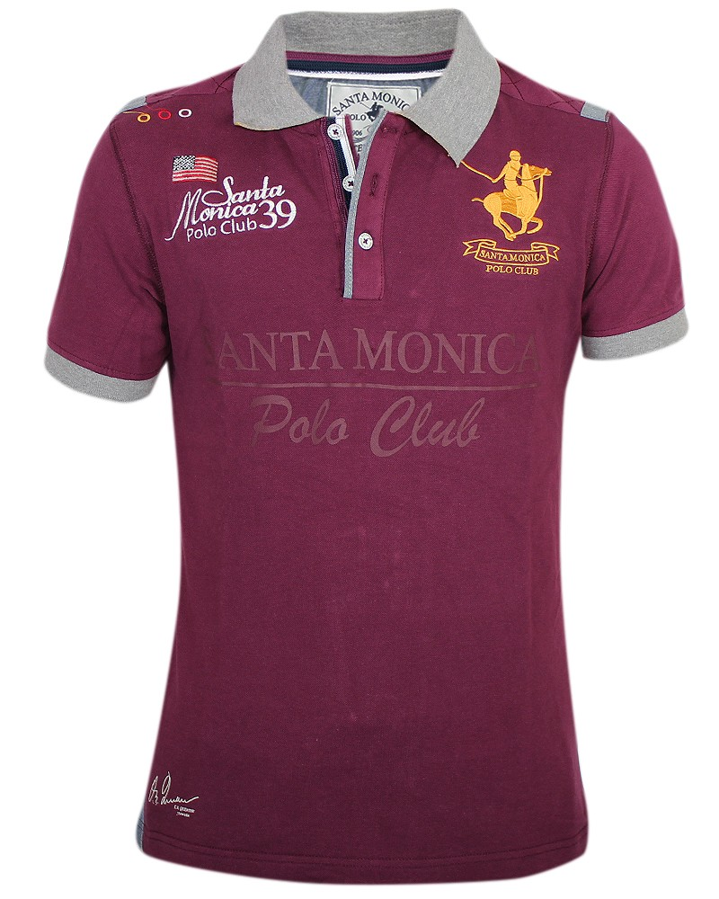 Mens horse polo shirt santa monica polo club sport t shirt for Men s athletic polo shirts